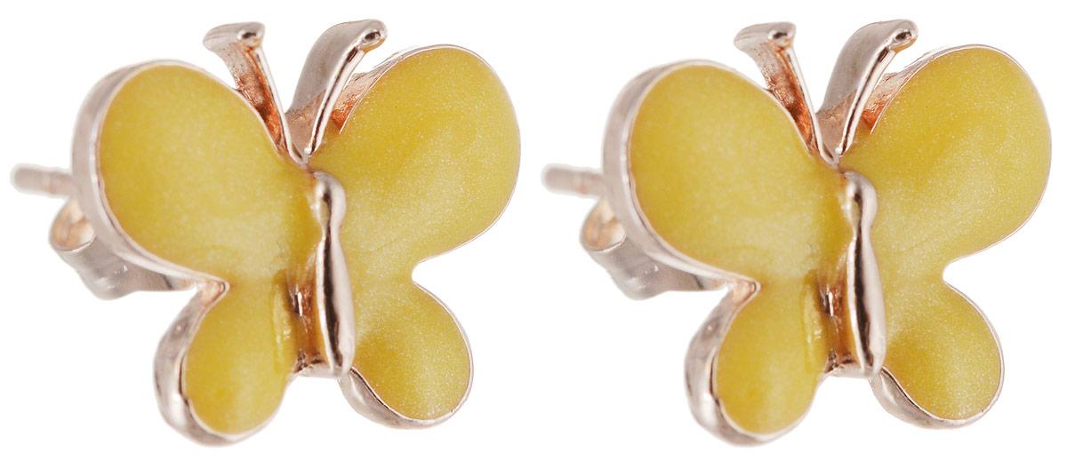 Серьги Револю Бабочка, цвет: желтый. EAR-587EAR-587