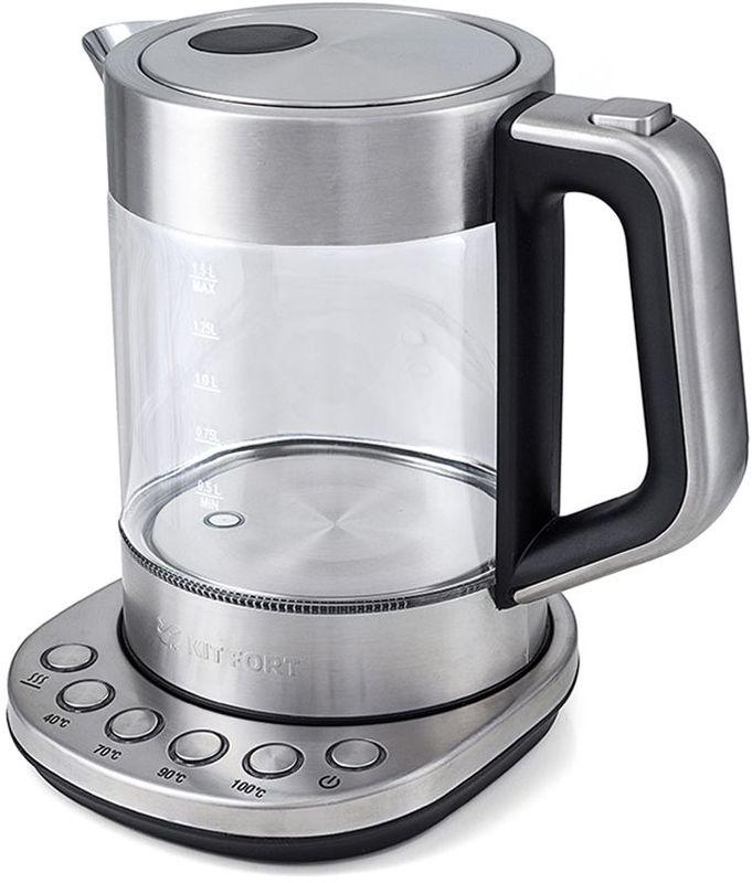 Kitfort КТ-616 чайник электрическийКТ-616Электрический чайник с терморегулятором Kitfort КТ-616 может не только вскипятить воду, но и нагреть ее до температуры 40, 70 и 90°С, что очень удобно при заваривании различных сортов чая. Температура 40 °С пригодится для приготовления детского питания. Чайник также оснащен функцией поддержания температуры. Температура воды контролируется встроенным в дно чайника термодатчиком.