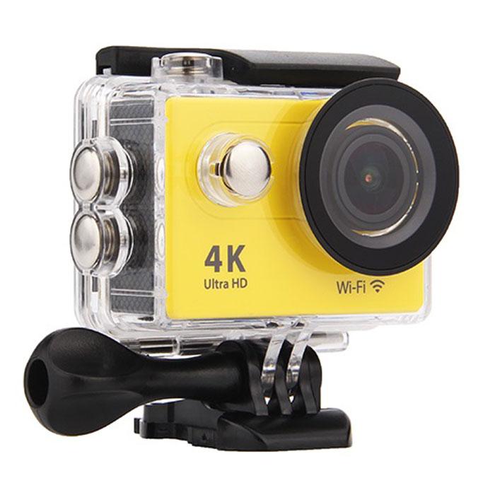 Eken H9R, Yellow экшн-камераH9R YELLOWЭкшн-камера Eken H9R Ultra HD позволяет записывать видео с разрешением 4К и очень плавным изображением до 30 кадров в секунду. Камера оснащена 2 TFT LCD экраном. Эта модель сделана для любителей спорта на улице, подводного плавания, скейтбординга, скай-дайвинга, скалолазания, бега или охоты. Снимайте с руки, на велосипеде, в машине и где угодно. По сравнению с предыдущими версиями, в Eken H9R Ultra HD вы найдете уменьшенные размеры корпуса, увеличенный до 2-х дюймов экран, невероятную оптику и фантастическое разрешение изображения при съемке 30 кадров в секунду! Управляйте вашей H9R на своем смартфоне или планшете. Приложение Ez iCam App позволяет работать с браузером и наблюдать все то, что видит ваша камера. В комплекте с камерой идет пульт ДУ работающий на частоте 2,4 ГГц. Он позволяет начинать и заканчивать съемку удаленно.