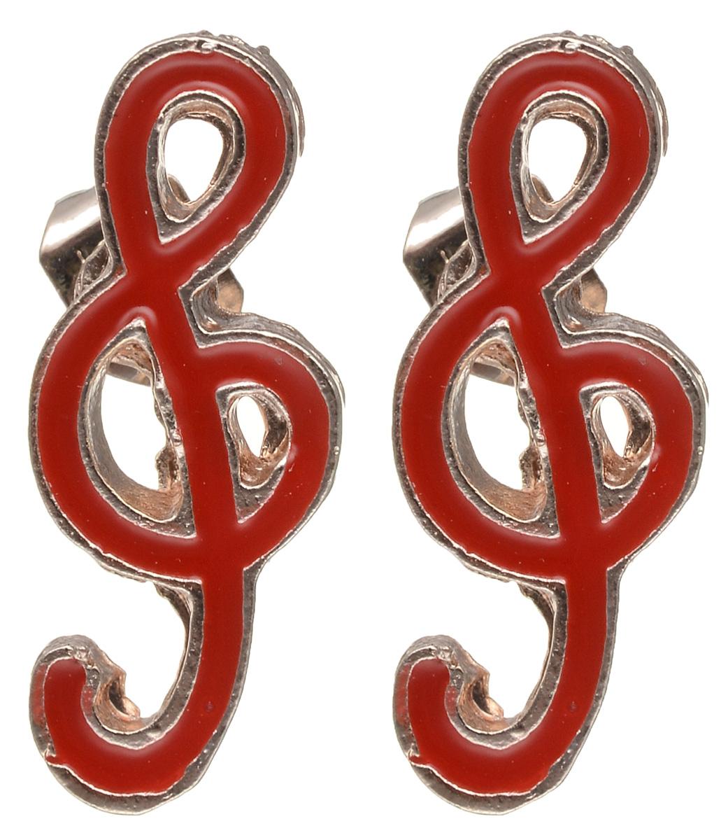 Серьги Револю Музыка, цвет: красный. EAR-597EAR-597Материал: бижутерный сплав, эмаль.