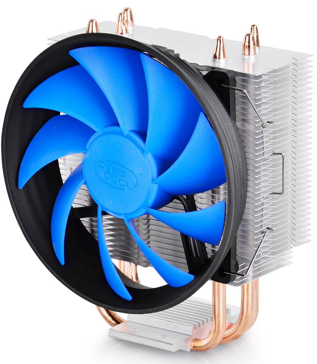 Deepcool GAMMAXX 300 кулер для процессораGAMMAXX 300Система охлаждения Deepcool GAMMAXX 300 с вентилятором в форме турбины является одним из самых рекомендуемых кулеров для всех современных процессоров. GAMMAXX 300 поддерживает технологию Core Touch для максимально быстрого отвода и рассеивания тепла. Благодаря возможности подключения дополнительного вентилятора GAMMAXX 300 станет отличным решением для охлаждения игровых систем. Три тепловых трубки из спекаемого порошка контактируют непосредственно с поверхностью процессора для быстрого отвода тепла и предотвращения перегрева Вентилятор с габаритами 120 х 120 х 25 мм и поддержкой ШИМ-управления обеспечивает оптимальную вентиляцию Система оснащена несколькими крепежами для поддержки платформ Intel LGA1366/1156/1155/1151/1150/775 и AMD AM4/FM2/FM1/AM3+/AM3/AM2+/AM2/K8