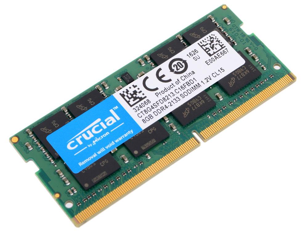 Crucial SODIMM DDR4 8GB 2133МГц модуль оперативной памятиCT8G4SFD8213Модуль оперативной памяти для ноутбуков Crucial CT8G4SFD8213 обеспечивает увеличенную рабочую частоту при сниженном тепловыделении и экономном энергопотреблении. Напряжение питания при работе составляет 1,2 В. При производстве оперативной памяти использовались только передовые технологи, с использованием качественных и прочных материалов, которые после установки позволят ноутбуку работать быстро, плавно, без зависаний. Мощная начинка способна работать с частотой 2133 МГц, а пропускная способность достигает 17000 Мб/с. Объем памяти составляет - 8 гигабайт. Отличные характеристики, которые смогут удовлетворить потребности большинства пользователей.