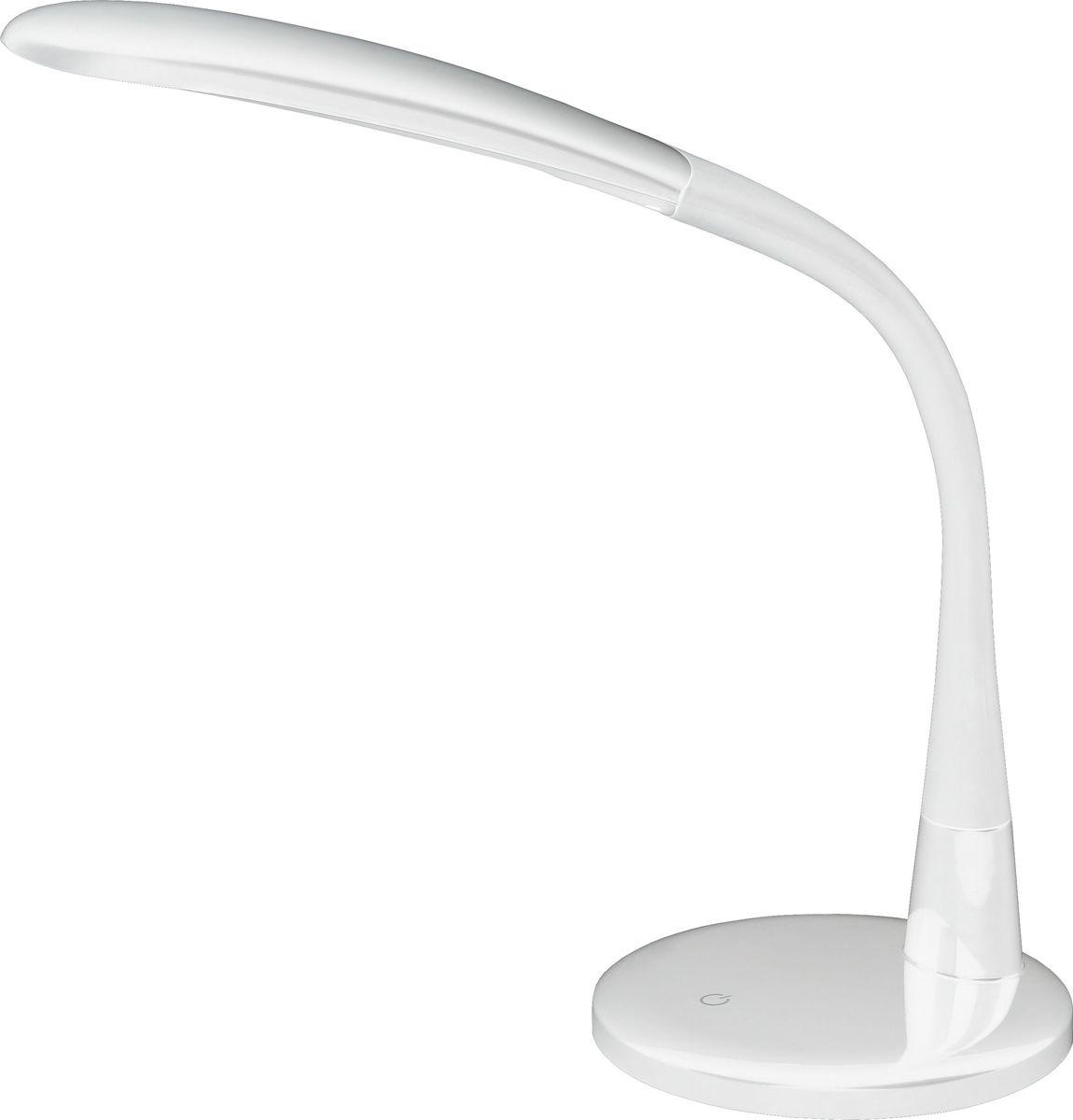 Настольный светильник ЭРА, цвет: белый. NLED-444-7W-WNLED-444-7W-WСветильник со светодиодами (LED) в качестве источников света, которые экономят до 90% электроэнергии и не требуют замены на протяжении всего срока службы светильника. Сенсорный переключатель на основании. Четырехступенчатый диммер для регулировки яркости. Направление света регулируется поворотом плафона в любом направлении под любым углом. Теплый свет, аналогичный свету лампы накаливания - цветовая температура 3000К.