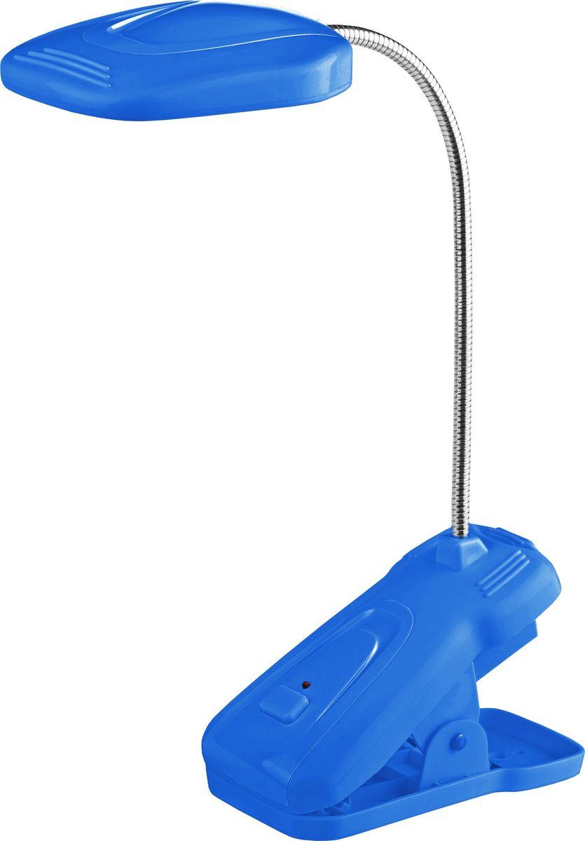 Настольный светильник ЭРА, цвет: синий. NLED-420-1.5W-BUNLED-420-1.5W-BUСветильник со светодиодами (LED) в качестве источников света, которые экономят до 90% электроэнергии и не требуют замены на протяжении всего срока службы светильника. Аккумулятор для автономной работы до 5 часов. Два режима - максимальная яркость и приглушенный свет. Съемный сетевой шнур в комплекте. Удобная прочная прищепка, выключатель на прищепке. На основании прищепки есть отверстие для подвеса на стену - светильник может быть использован как настенный, не требующий монтажа, его легко подвешивать и снимать. Направление света регулируется гибкой стойкой, которая обеспечивает поворот плафона в любом направлении. Теплый свет, аналогичный свету лампы накаливания - цветовая температура 3000К. Блистерная упаковка.