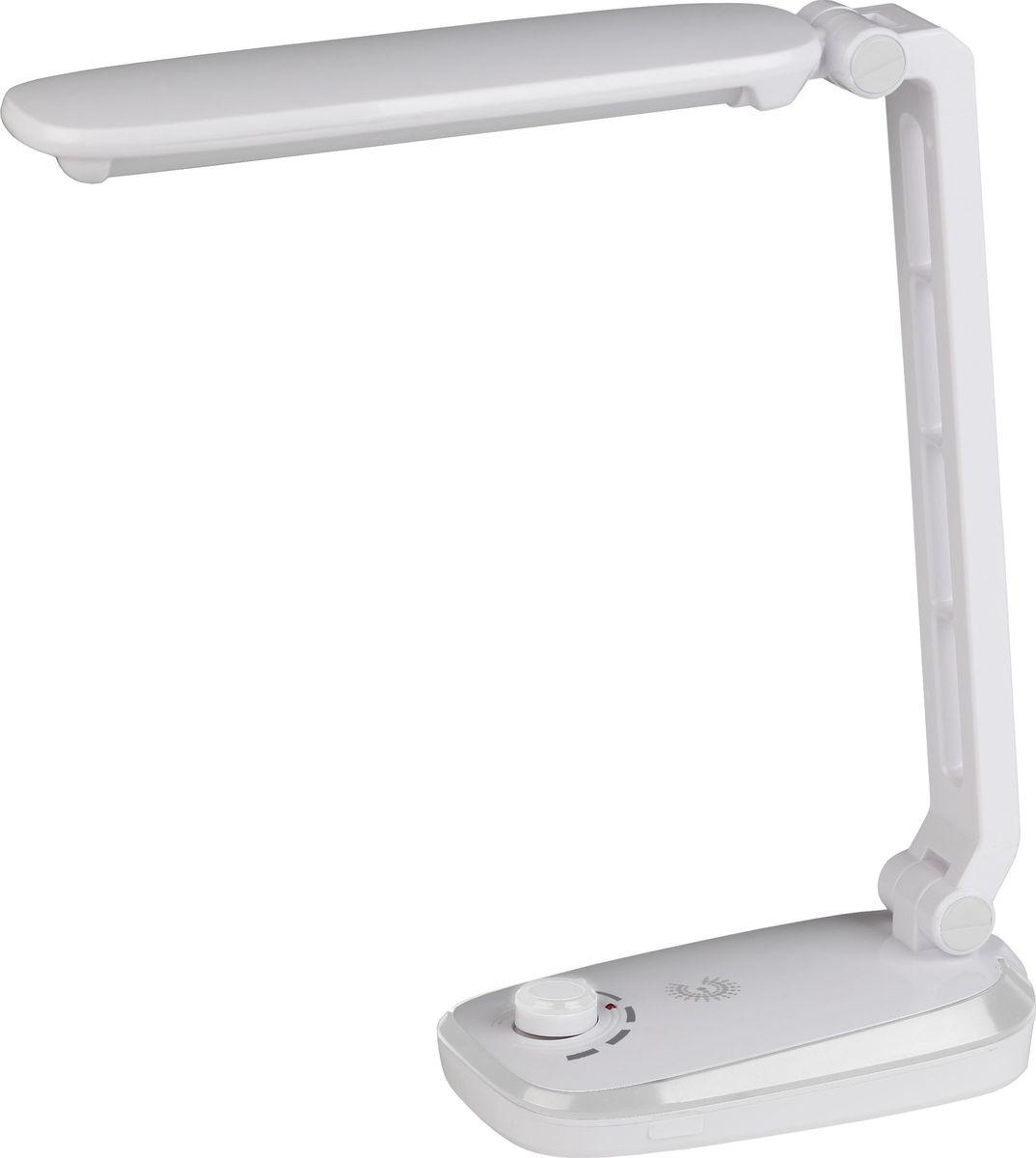 Настольный светильник ЭРА, цвет: белый. NLED-425-4W-WNLED-425-4W-WСветильник со светодиодами (LED) в качестве источников света, которые экономят до 90% электроэнергии и не требуют замены на протяжении всего срока службы светильника. Аккумулятор для автономной работы до 4 часов. Плавная регулировка яркости. Съемный сетевой шнур в комплекте. Устойчивое основание. Складная конструкция. Направление света регулируется наклоном стойки и поворотом панели со светодиодами относительно стойки для максимального комфорта. Теплый свет, аналогичный свету лампы накаливания - цветовая температура 3000К.