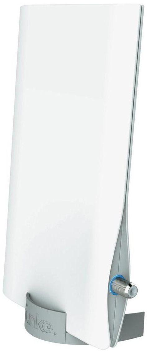 Funke DSC550 комнатная ТВ-антенна (активная)13484Активная компактная комнатная антенна Funke DSC550 специально разработана для приема цифрового телевидения DVB-T/T2. Антенна разработана и произведена в Нидерландах, компанией Funke Digital TV. Вы получаете гарантированное европейское качество материалов и сборки. Современный и красивый дизайн антенны впишется в любой, даже самый современный интерьер. Фирменная технология производителя 4G LTE INERT technology обеспечит защиту от помех 4G мобильных сетей Расстояние от передатчика: до 40 км; Активная антенна: да; Коэффициент усиления UHF: 23 dBi Питание: по кабелю от ресивера или через адаптер; Возможность комнатного и уличного монтажа Встроенный фильтр от 4G LTE помех Корпус: защитный корпус из ударопрочного пластика; Адаптера в комплекте нет