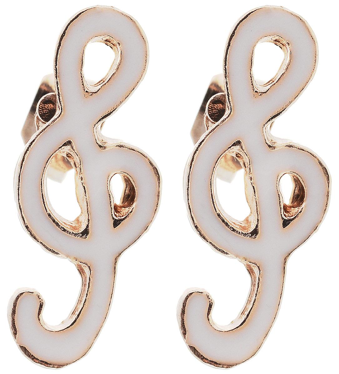 Серьги Револю Музыка, цвет: белый. EAR-603EAR-603Материал: бижутерный сплав, эмаль.