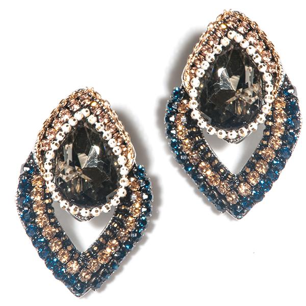 Серьги Selena, цвет: золотистый, серый, синий. 2007192020071920Ювелирное стекло, стразы Swarovski. Гальваническое покрытие: золото., длина серег 3,5 см