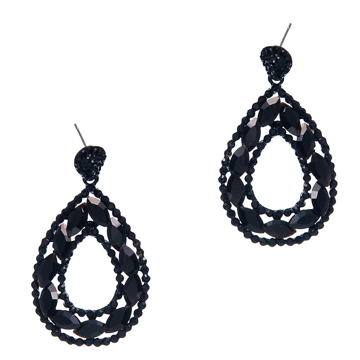 Серьги Selena, цвет: черный. 2008036020080360Кристаллы Preciosa. Гальваническое покрытие: родий., длина серег 5,5 см ширина 3 см