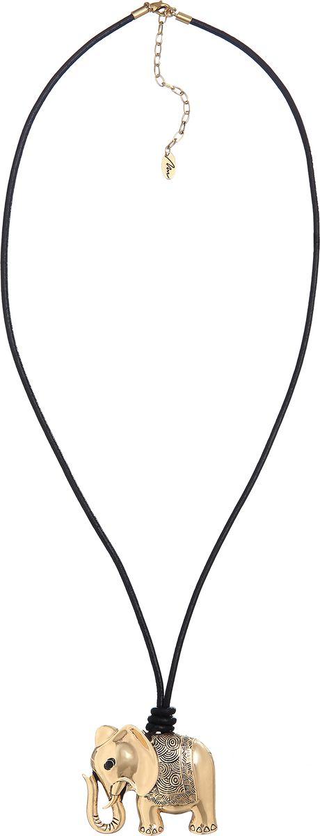 Колье Модные истории, цвет: золотистый. 12/1064/99912/1064/999Длинное ожерелье на вощеном хлопковом шнуре, подвеска из бижутерийного сплава золотистого цвета в виде слона . Застежка карабин, удлинитель 7,5 см.