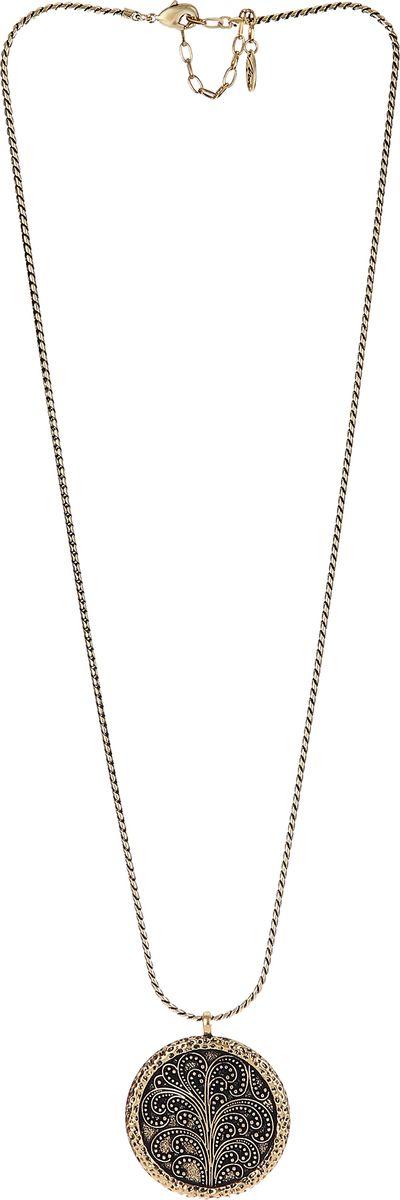 Колье Модные истории, цвет: золотистый. 12/106512/1065Длинное ожерелье на круглой цепочке. Основной акцент на круглую ажурную подвеску , Застежка - карабин. Удлинитель 7,5 см.