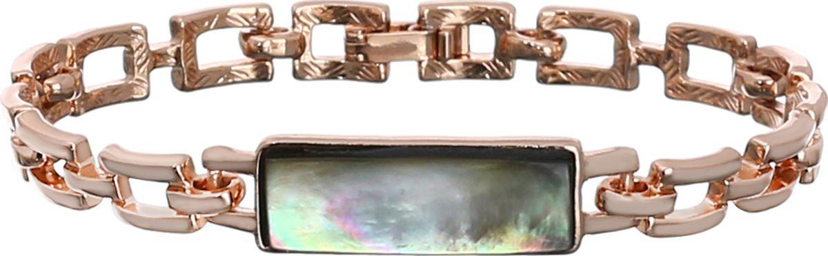 Браслет Модные истории, цвет: золотистый. 11/044311/0443Браслет е из бижутерийного сплава с гальваническим покрытием золотом 18К, украшение имеет прямоугольную форму с вставкой из натурального черного перламутра. Застежка - защелка.
