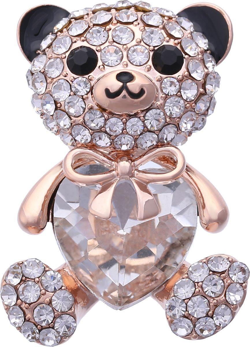 Брошь Модные истории, цвет: золотистый. 19/0329/00119/0329/001Чудесная брошь в виде мишки. Выполнена из бижутерного сплава золотистого цвета, покрытая эмалью, декорированная стразами и вставкой имитирующей алмаз. Застежка булавка, можно носить как кулон. Размер броши: 3*4см.
