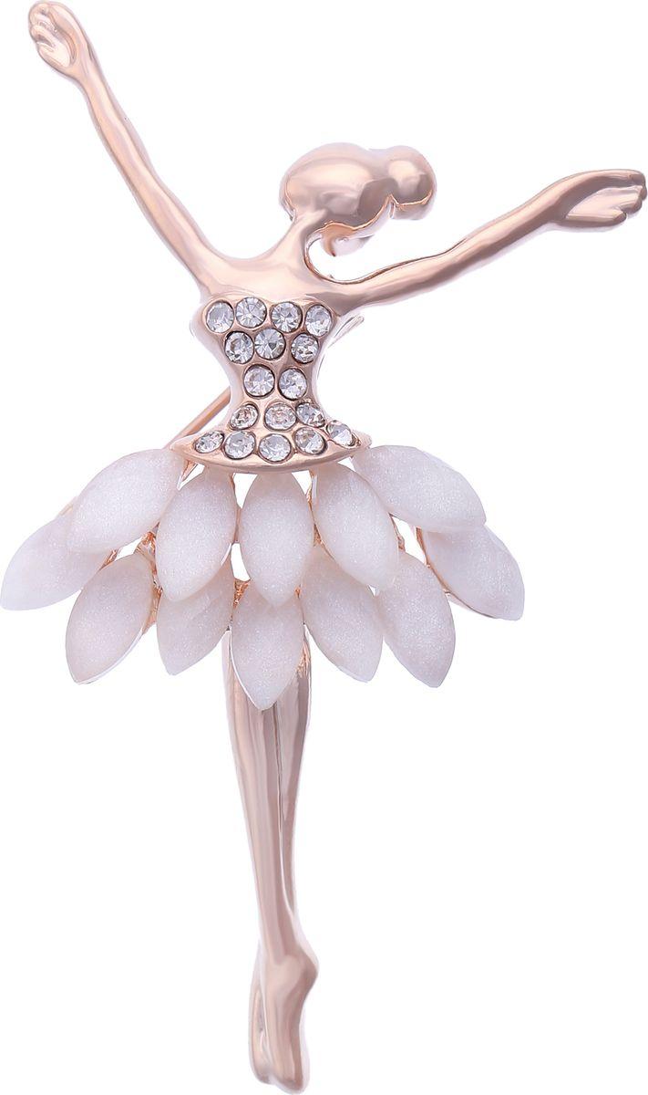 Брошь Модные истории, цвет: золотистый. 19/033019/0330Восхитительная брошь в виде балерины. Выполнена из бижутерного сплава золотистого цвета, декорированная стразами и вставками имитирующими белый перламутровый камень. Застежка булавка, можно носить как кулон. Размер броши: 4*6см.
