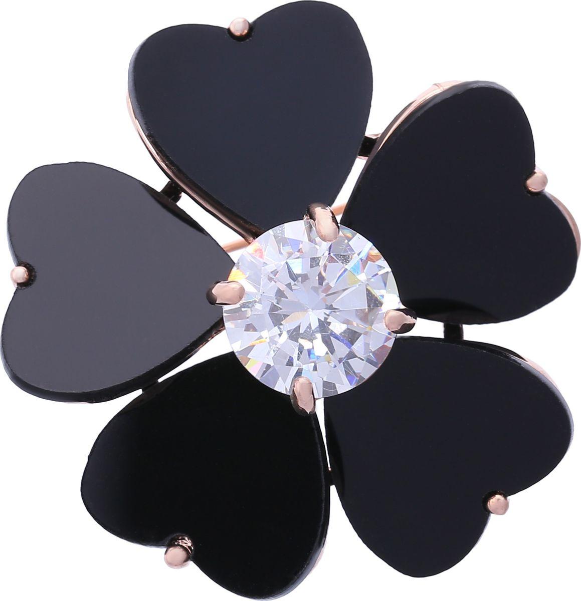 Брошь Модные истории, цвет: черный. 19/0336/03019/0336/030Стильная брошь в виде цветка. Выполнена из бижутерного сплава золотистого цвета, декорированная черными вставками и камнем имитирующим алмаз . Застежка булавка. Размер броши: 4*4см.
