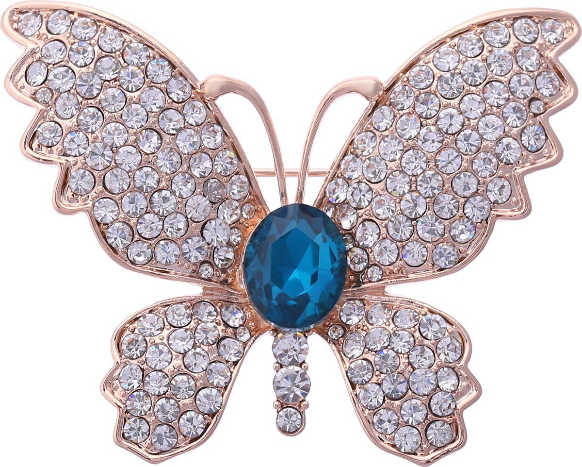 Брошь Модные истории, цвет: золотистый. 19/033719/0337Восхитительная брошь в виде бабочки. Выполнена из бижутерного сплава золотистого цвета, декорированная стразами и вставкой имитирующей сапфир. Застежка булавка. Размер броши: 4,5*3,5см.