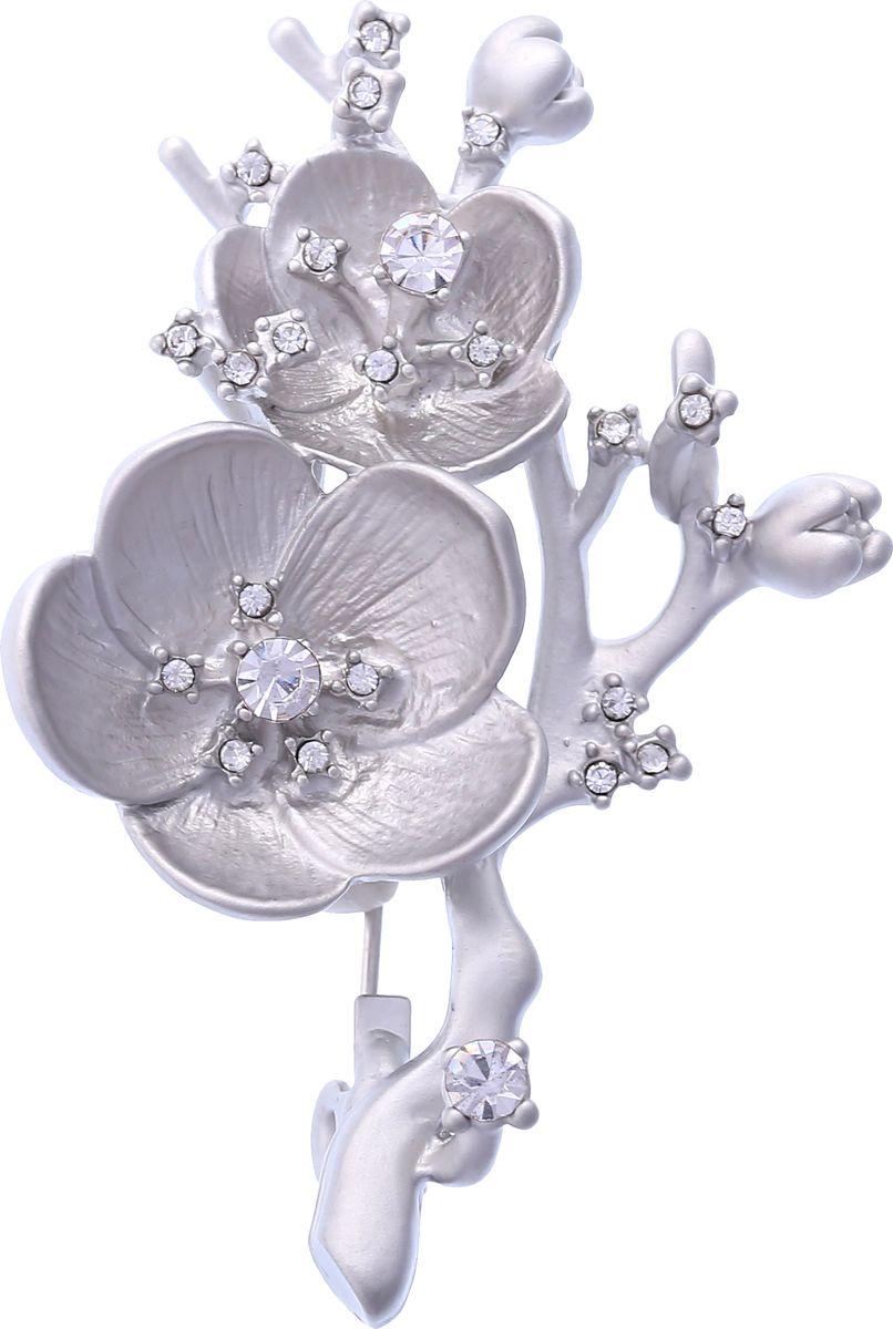 Брошь Модные истории, цвет: серебристый. 19/034819/0348Стильная брошь в виде веточки цветка. Выполнена из бижутерного сплава серебристого цвета, декорированная стразами. Застежка булавка. Размер броши: 3*5см.