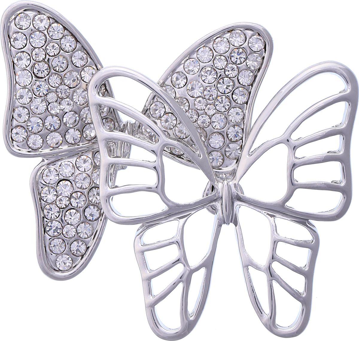 Брошь Модные истории, цвет: серебристый. 19/0351/88819/0351/888Восхитительная брошь оформленная в виде бабочек. Выполнена из бижутерного сплава серебристого цвета, декорированная стразами. Застежка булавка. Размер броши: 5*4см.