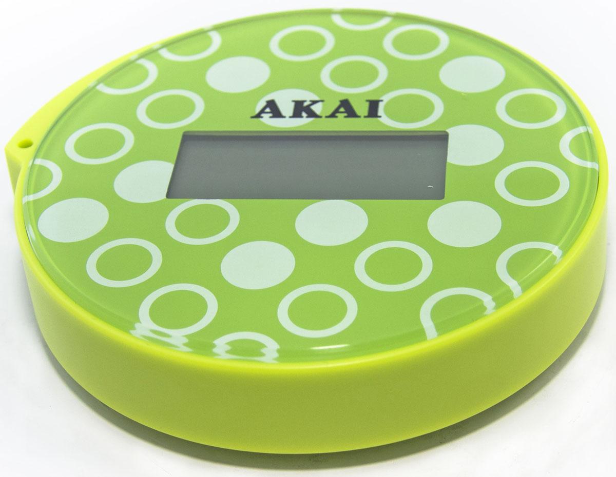 Весы напольные Akai, электронные, цвет: салатовый, до 150 кг1353/GВесы напольные, ультракомпактные (всего 13 см в диаметре), максимальный вес: 150 кг/330 LB, три вида единиц измерения. LСD дисплей, индикатор готовности к взвешиванию, фиксация цифровых показаний веса, автоматическое включение и выключение, предупреждение о превышении веса, индикатор заряда батареи.