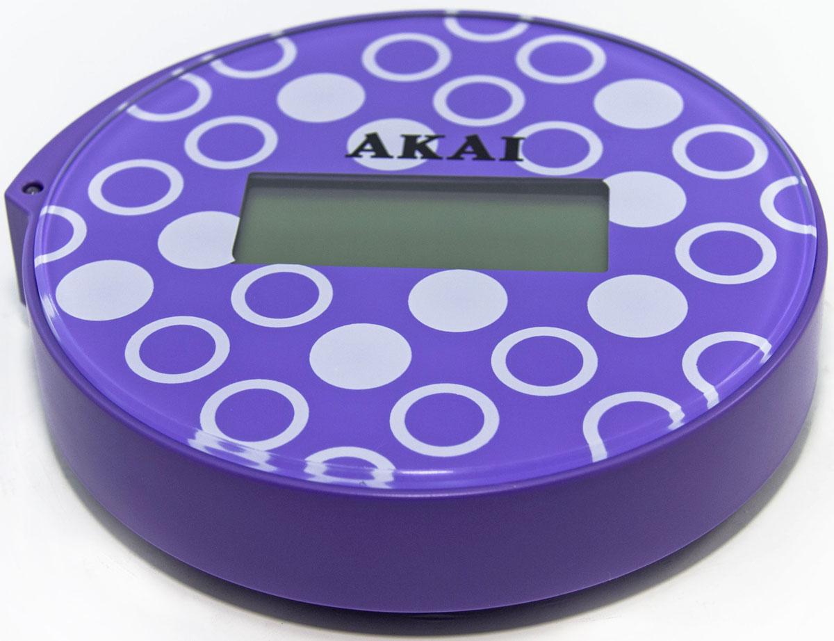 Весы напольные Akai, электронные, цвет: фиолетовый, до 150 кг1354/VВесы напольные, ультракомпактные (всего 13 см в диаметре), максимальный вес: 150 кг/330 LB, три вида единиц измерения. LСD дисплей, индикатор готовности к взвешиванию, фиксация цифровых показаний веса, автоматическое включение и выключение, предупреждение о превышении веса, индикатор заряда батареи.
