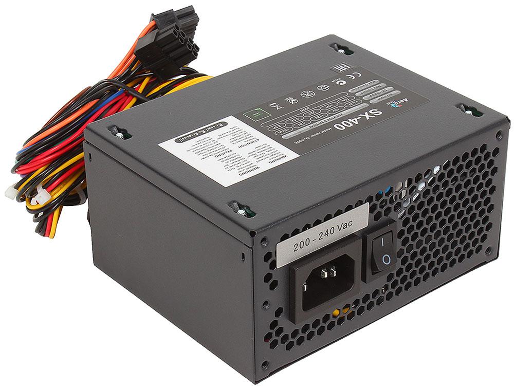 Aerocool SX-400W блок питания для компьютера4713105953220Блок питания Aerocool SX-400W сочетает в себе классический корпус чёрного цвета и высококачественные компоненты, которые обеспечивают высокую производительность и совместимость. БП полностью защищён от перегрузки по мощности и по напряжению, от низкого напряжения, от короткого замыкания в сети и от перегрева. Для комфортной работы блок укомплектован 80 миллиметровым тихим вентилятором.