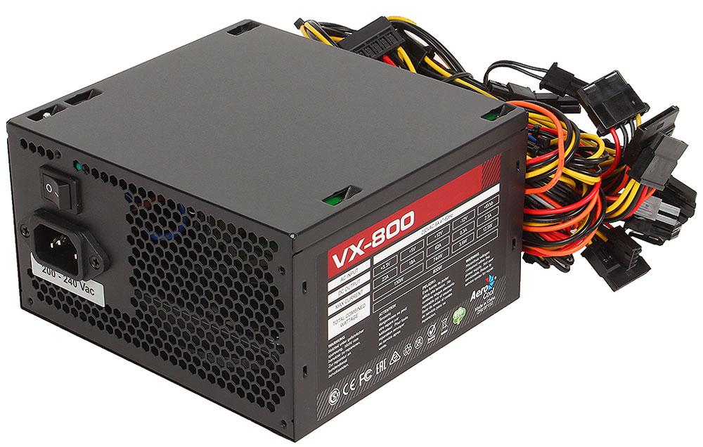 Aerocool VX-800W блок питания для компьютера4713105957235Aerocool VX-800W - это эффективный, надёжный и недорогой блок питания с низким уровнем шумов и помех. Блоки питания линейки VX - самые доступные в ассортименте Aerocool и предназначены для систем начального уровня. Они собраны из высококачественных компонентов и обеспечивают стабильное и надёжное питание для всего системного блока. Хотя устройства линейки VX предназначены для сборки систем начального уровня, Aerocool снабдила их всем необходимым. БП VX работает без шумов и помех, защищён от перепадов напряжения в сети и оборудован 12 сантиметровым вентилятором с умным управлением скоростью вращения.