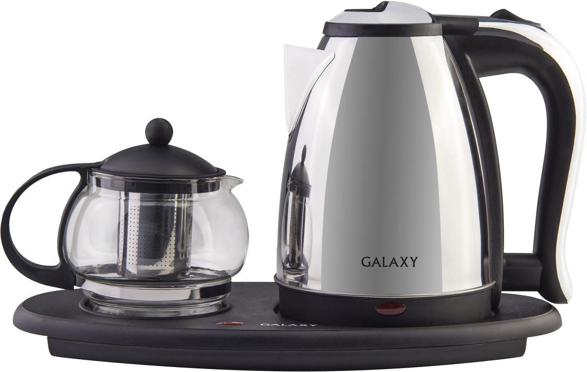 Galaxy GL 0401, Black набор для приготовления чая4630003365293Общая мощность, Вт: 2035 Объем чайника, л: 1,8 Стеклянный заварочный чайник емкостью, л: 1 Скрытый нагревательный элемент Металлический корпус чайника Съемный фильтр заварочного чайника Автоотключение при закипании Автоотключение при отсутствии воды Указатели максимального уровня воды Индикатор работы Функция поддерживания температуры для заварочного чайника Напряжение сети, В: 220-240 Частота, Гц: 50