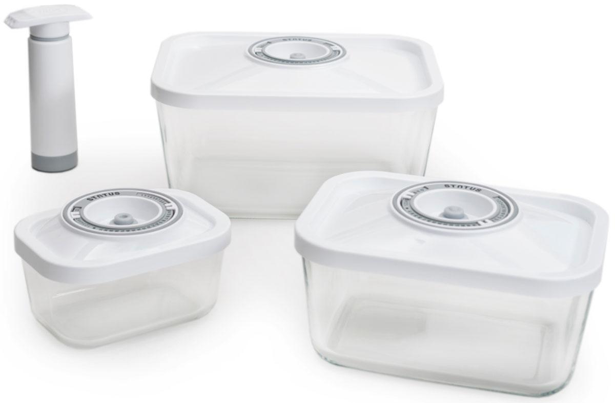 Status VAC-Glass-Set, White набор контейнеров для вакуумного упаковщикаVAC-Glass-Set WhiteБлагодаря использованию вакуумных контейнеров, продукты не подвергаются внешнему воздействию и срок хранения значительно увеличивается. Продукты сохраняют свои вкусовые качества и аромат, а запахи в холодильнике не перемешиваются. Высококачественное боросиликатное стекло подходит для использования как в духовке (без крышки), так и в морозильной камере, и выдерживает температуру от –20° С до 300° С Контейнеры также подходят для использования в микроволновой печи (без крышки), их можно мыть в посудомоечной машине. Контейнеры для хранения продуктов в вакууме Материал контейнера: стекло высокого качества Материал крышки: пластик Прямоугольная форма контейнеров Занимают мало места при хранении Индикатор даты (месяц, число)