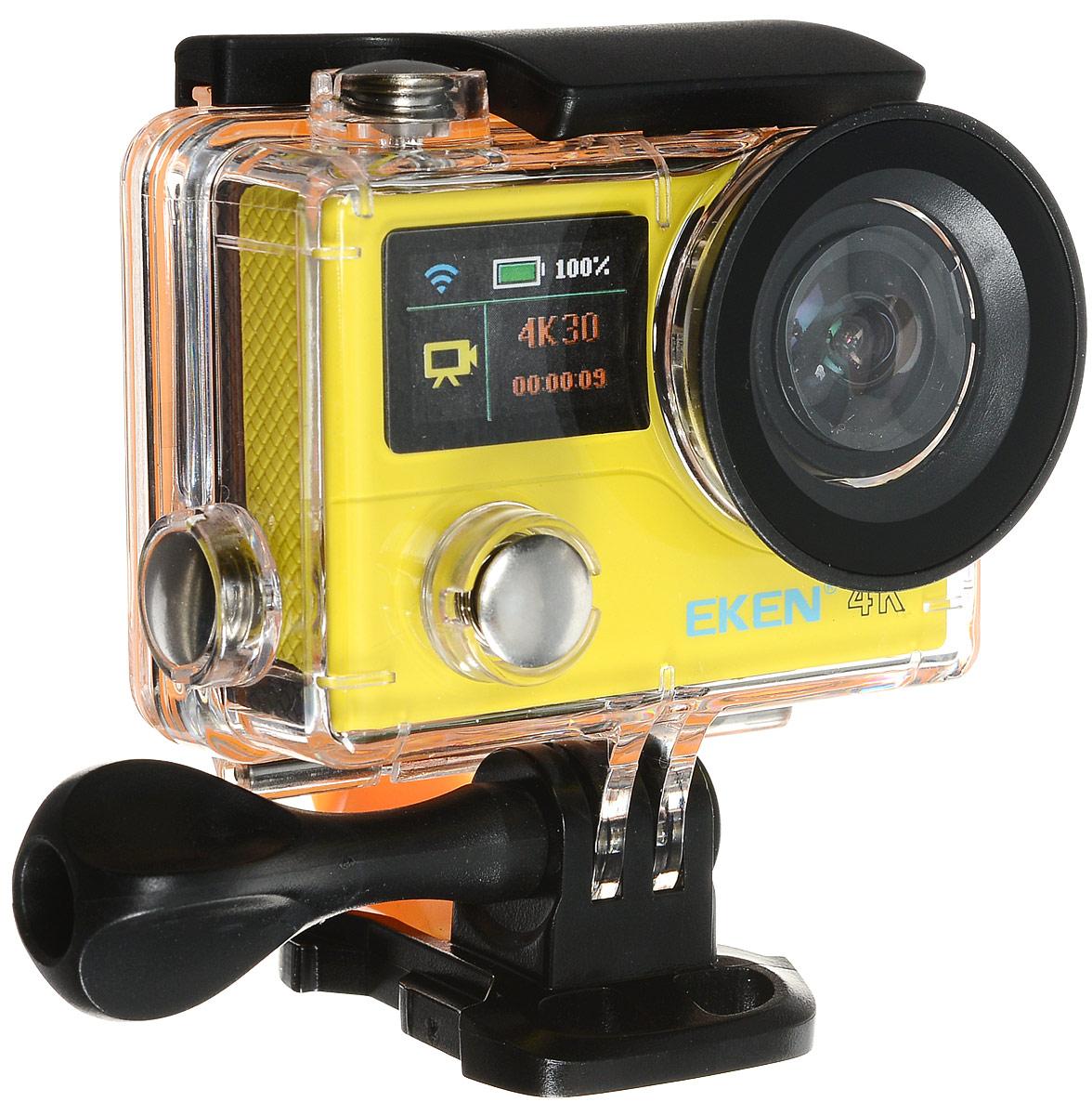 Eken H3R Ultra HD, Yellow экшн-камераH3R/H8Rse YELLOWЭкшн-камера Eken H3R Ultra HD позволяет записывать видео с разрешением 4К и очень плавным изображением до 25 кадров в секунду. Камера имеет два дисплея: 2 TFT LCD основной экран и 0.95 OLED экран статуса (уровень заряда батареи, подключение к WiFi, режим съемки и длительность записи). Эта модель сделана для любителей спорта на улице, подводного плавания, скейтбординга, скай-дайвинга, скалолазания, бега или охоты. Снимайте с руки, на велосипеде, в машине и где угодно. По сравнению с предыдущими версиями, в Eken H3R Ultra HD вы найдете уменьшенные размеры корпуса, увеличенный до 2-х дюймов экран, невероятную оптику и фантастическое разрешение изображения при съемке 25 кадров в секунду! Управляйте вашей H3R на своем смартфоне или планшете. Приложение Ez iCam App позволяет работать с браузером и наблюдать все то, что видит ваша камера. В комплекте с камерой идет пульт ДУ работающий на частоте 2,4 ГГц. Он позволяет начинать и заканчивать съемку...