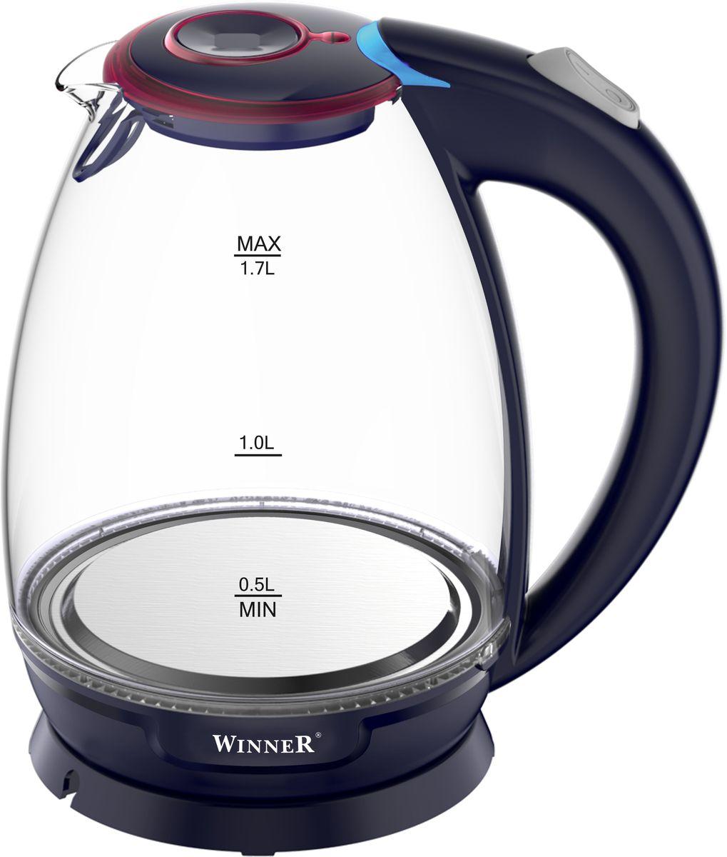Winner Electronics WR-100 электрический чайникWR-1001,7л. Корпус: прозрачное стекло. Автоматическое и ручное выключение. Световой индикатор. Зашита от перегрева. Отсек для хранения шнура. Скрытый нагревательный элемент. 1850-2200Вт
