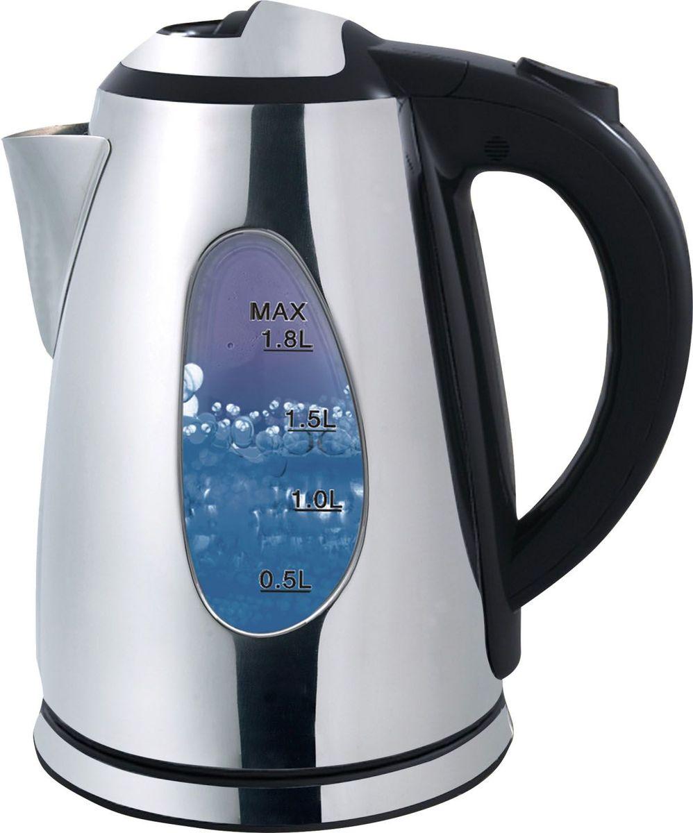 Winner Electronics WR-105 электрический чайникWR-1051,8л. Корпус: нерж.сталь. Автоматическое выключение. Автоматическое отключение при отсутствии воды. Защита от перегрева. Синий цвет подсветки. Шкала уровня воды. 220-240В 50/60Гц 1800-2200Вт