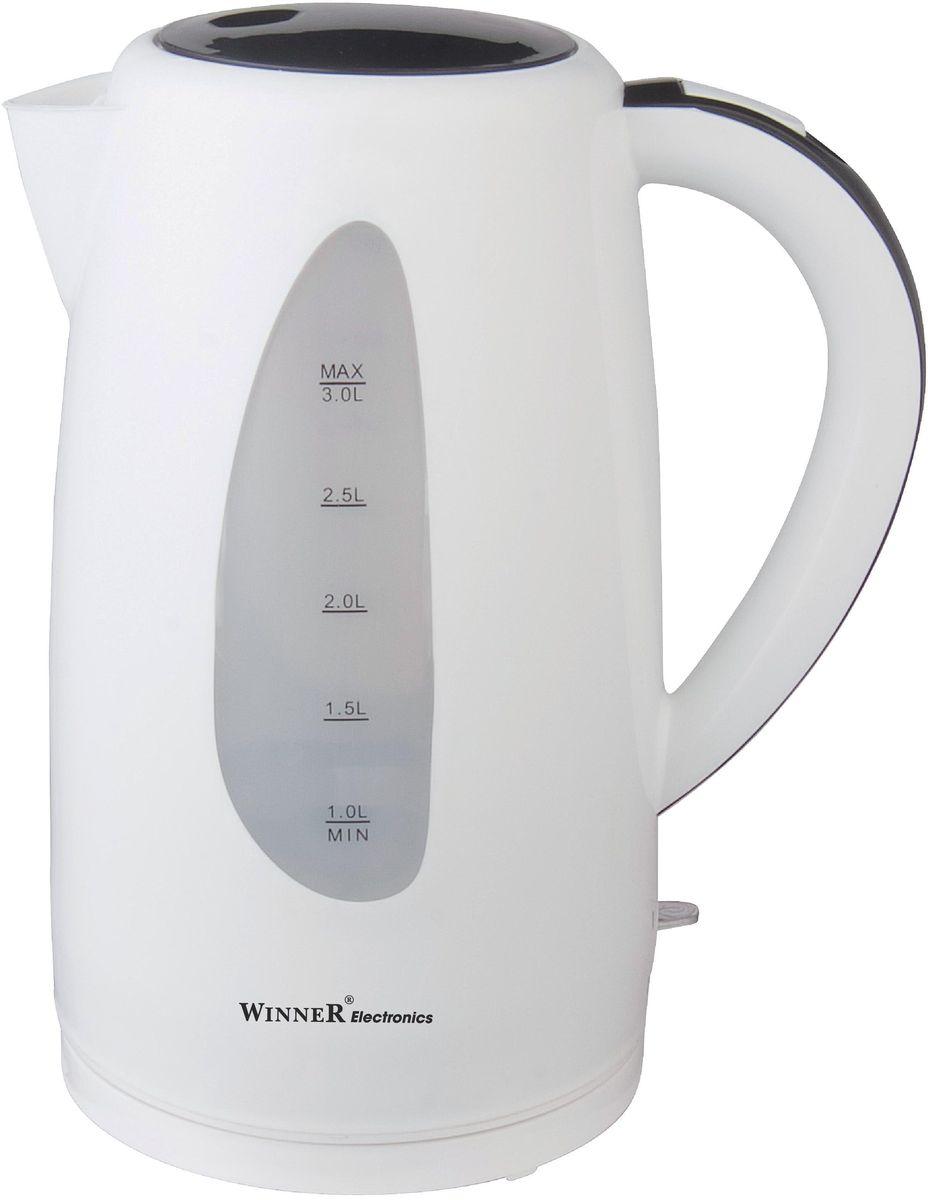 Winner Electronics WR-128 электрический чайникWR-1283,0 л. Пластиковый чайник с вращением 360гр. Функция автоматич. открывания крышки. Выключатель со световым индикатором. Автоматическое отключение при отсутствии воды и после закипания воды.Съемный нейлоновый фильр. Шкала-индикатор уровня воды. Съемная база питания с противоскользящим покрытием.220-240В 50/60Гц 2200Вт