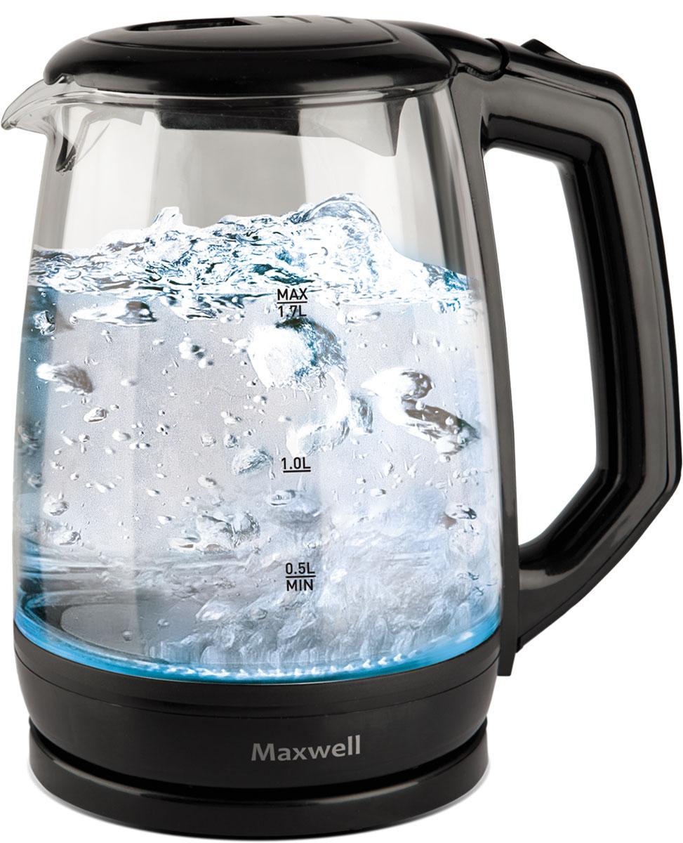 Maxwell MW-1076(TR) электрический чайникMW-1076(TR)Электрический чайник Maxwell MW-1076(TR) прост в управлении и долговечен в использовании. Корпус чайника изготовлен из стекла. Мощность 2200 Вт вскипятит 1,7 литра воды в считанные минуты. Беспроводное соединение позволяет вращать чайник на подставке на 360°. Для обеспечения безопасности при повседневном использовании предусмотрены функция автовыключения, а также защита от включения при отсутствии воды.