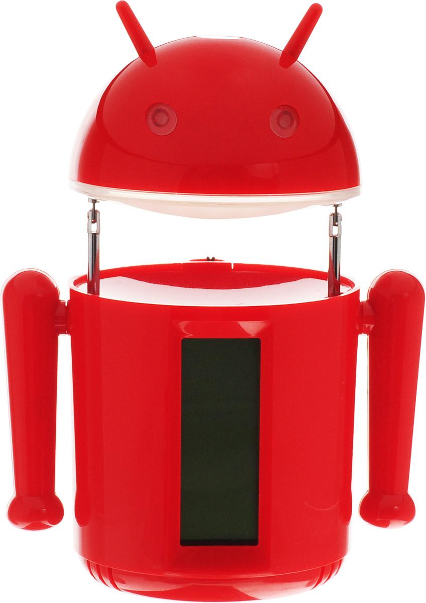 Sima-land Лампа настольная сенсорная Робот цвет красный1193589_красныйСегодня особо ценятся уникальные креативные предметы интерьера, и настольная сенсорная лампа Sima-land Робот как раз из их числа. Лампа выполнена из качественного пластика в виде забавного зеленого робота с рожками. Голова робота поднимается над корпусом с помощью телескопических держателей и может поворачиваться под любым углом. На нижней поверхности головы робота расположены 20 ярких светодиодов, которые включаются с помощью кнопки на его макушке. Если провести пальцем или рукой между глаз робота, то они будут светиться. Руки робота подвижны. На лицевой стороне корпуса расположен жидкокристаллический дисплей, отображающий информацию о времени суток, дате и температуре окружающего воздуха. На нижней поверхности корпуса есть кнопочная панель для настройки часов, будильника, календаря и переключения отображения температуры в градусах Цельсия или Фаренгейта. Оригинальную лампу можно установить на стол или любую ровную поверхность, можно подвесить с помощью ремешка (в...