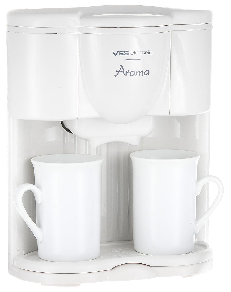 Ves V-FS5 кофеваркаV-FS5Ves V-FS5 - капельная кофеварка, которая порадует вас ароматным и невероятно вкусным кофе, с которым очень приятно начинать утро. Модель оснащена съемным моющимся фильтром, отсеком для хранения шнура, а также световым индикатором работы. Имеется возможность крепления прибора к стене. В комплект входят 2 фарфоровые чашки и съемный поддон.