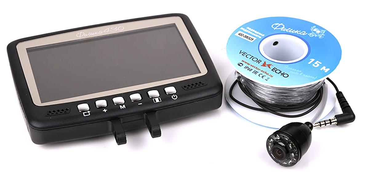 Подводная камера Фишка 430VE-f430Камера обладает эргономичным корпусом, удобно лежащим в руке и легко закрепляющемся на удилище. Дисплей камеры размером 4,3 дюйма, обеспечивает хорошее качество картинки. Подсветка камеры снабжена 8 ИК-светодиодами, что гарантирует Вам информативную картинку, даже при очень низком уровне освещения. Установленный аккумулятор позволяет осуществлять беспрерывную трансляцию до 7 часов, полная зарядка элемента питания происходит от адаптера сети 220В в течении 3 часов. Функция записи: Нет. Рабочая температура: от -20 °С до +60 °С. Дальность обзора (в чистой воде): от 1 до 3 метров. Встроенная подсветка: 8 ИК-светодиодов. Длина кабеля: 15 метров. Разрешение камеры: 800 ТВЛ. Усилие на разрыв: до 30 кг. Время автономной работы:до 7 часов. Ёмкость аккумулятора: 2600 мА/ч.