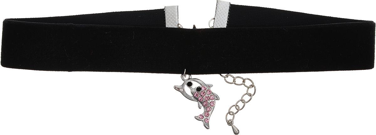 Чокер Револю Мулен Руж, цвет: розовый. п7958п7958Чокер Револю Мулен Руж выполнен из бархатной ленты с удлиняющей цепочкой с замочком- карабином. Чокер оформлен подвеской из металла с вкраплениями из страз, выполненной в виде дельфина. Нарядные стразы из лучшего хрусталя - отличная замена всем на свете натуральным камням.