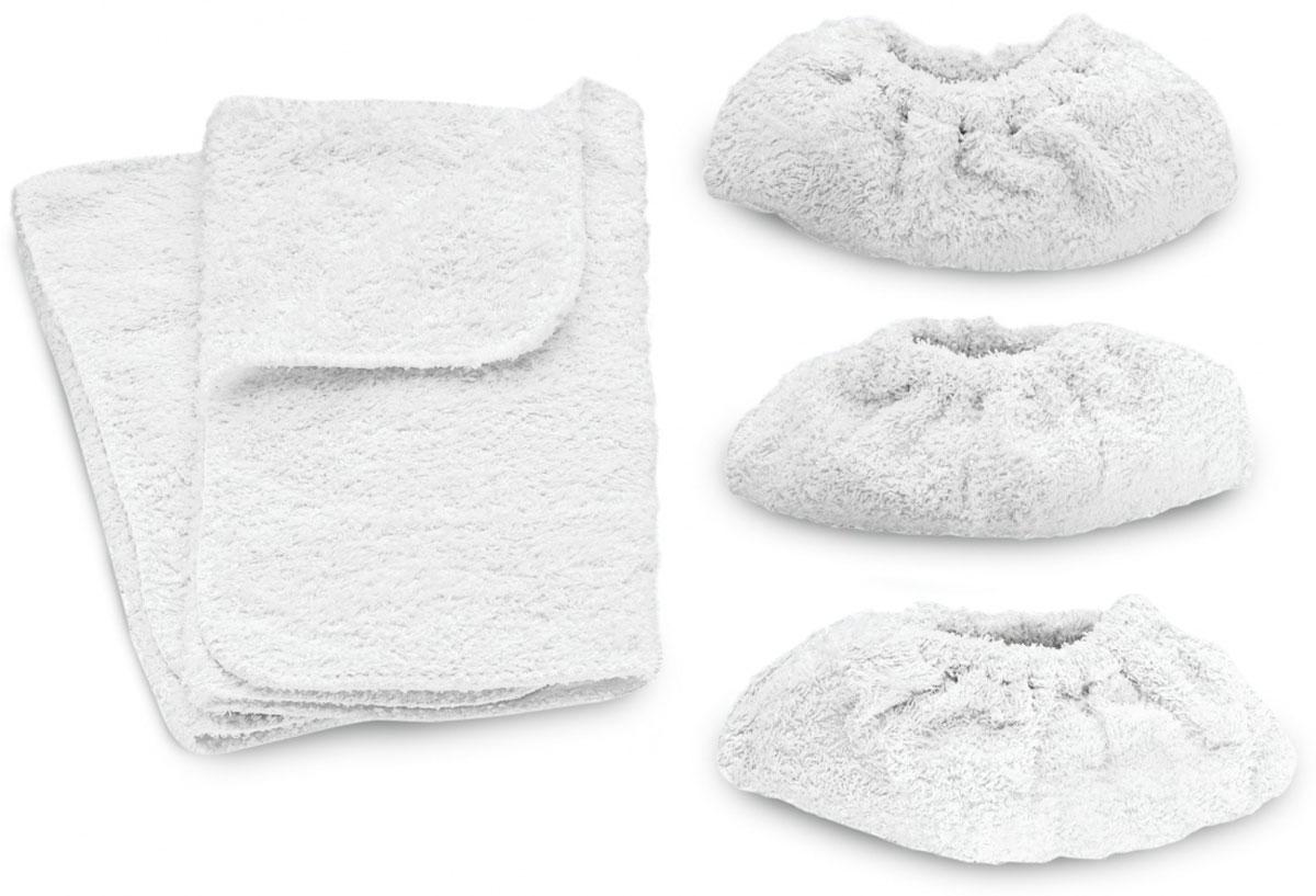 Karcher комплект салфеток, 5 шт (69600190)69600190Комплект Karcher включает 2 половые тряпки и 3 салфетки из махровой ткани для ручной насадки. Изделия идеально подходят для очистки ПВХ, линолеума, кафеля и полов из натурального камня.