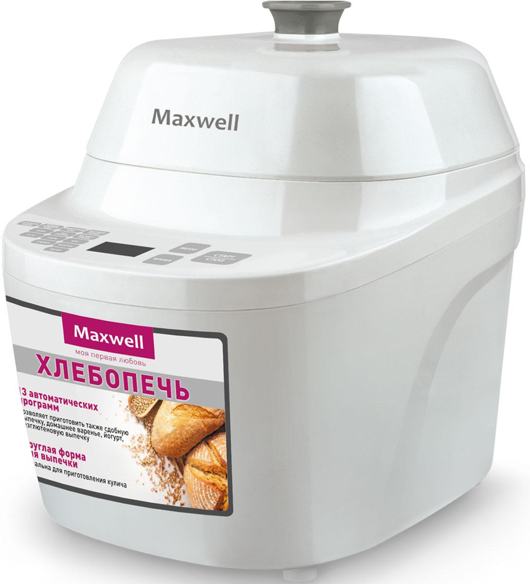 Maxwell MW-3755(W) хлебопечьMW-3755(W)Главной особенностью хлебопечи Maxwell MW-3755(W) является круглая форма для выпечки. Таким образом, данная модель отлично подойдет для приготовления куличей, караваев, кексов и, конечно же, традиционного хлеба. Максимальный вес выпечки составляет 500 г. В хлебопечь заложено 13 автоматических программ, среди которых не только выпечка, но и специальные программы для варки варенья и приготовления йогурта. Также следует отметить возможность делать безглютеновую выпечку. Хлебопечь имеет электронное управление, все нюансы работы отображаются на цифровом дисплее. Можно воспользоваться таймером отсрочки (до 13 часов). Если заправить хлебопечь вечером, к завтраку можно получить свежую, горячую выпечку. В комплекте с Maxwell MW-3755(W)поставляется мерный стакан и ложка.