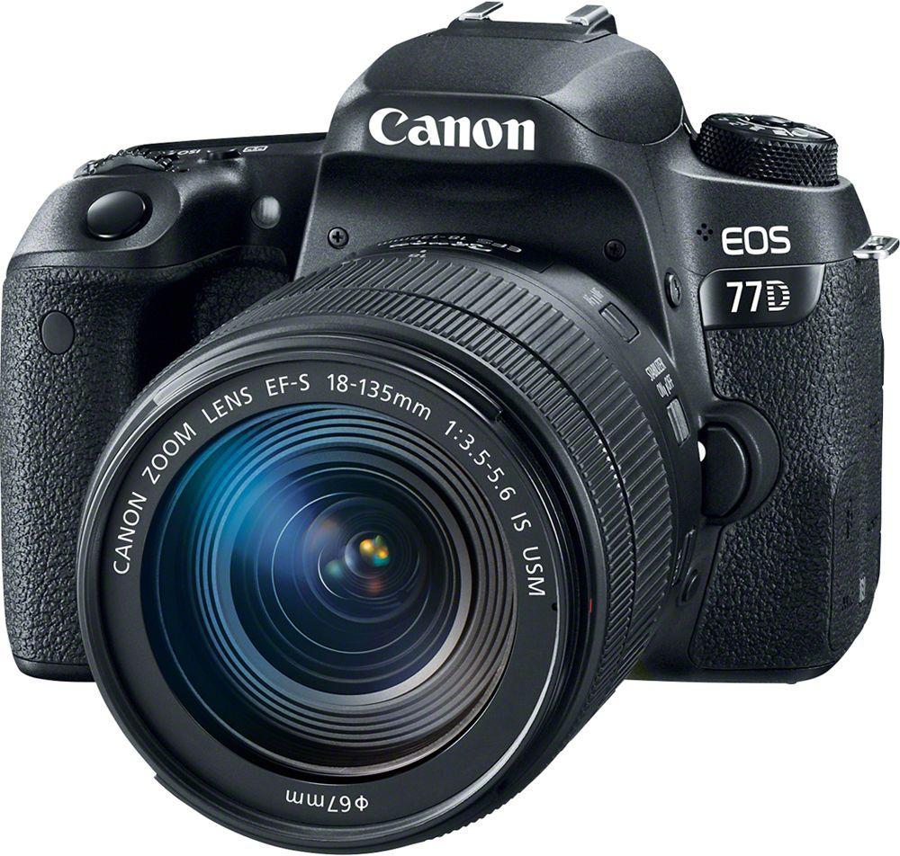 Canon EOS 77D Kit 18-135 IS USM цифровая зеркальная фотокамера1892C004Canon EOS 77D откроет вам новые творческие возможности в создании фотографий. Откройте для себя новые объекты и способы съемки. Современная система автофокусировки настраивает резкость именно там, где это необходимо, как при использовании оптического видоискателя, так и при использовании сенсорного экрана с высоким разрешением. Серийная съемка со скоростью до 6 кадров/сек. позволяет запечатлеть даже мимолетное выражение лица. Датчик изображения APS-C нового поколения позволяет создавать изображения с высокой детализацией даже в ярко освещенных и затененных местах. Самая быстрая в мире система автофокусировки в режиме Live View обеспечивает резкость изображений даже при съемке быстро движущихся объектов. Снимайте видео Full HD с кинематографическими эффектами малой глубины резкости и динамической передачей движения с частотой до 60 кадров/сек. Автофокусировка Dual Pixel CMOS AF сохраняет четкость объектов при изменении вашего положения, а встроенная...