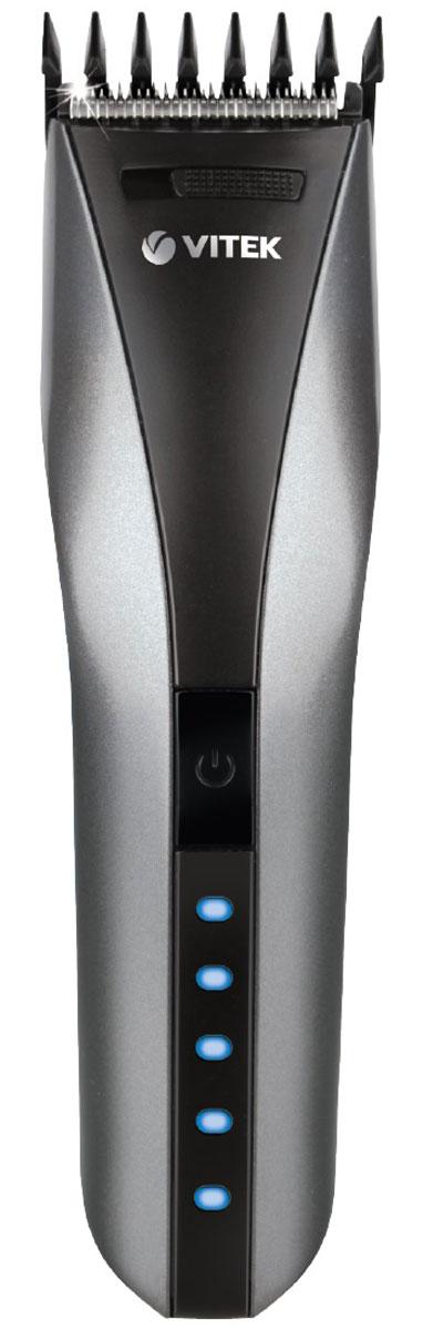 Vitek VT-2575(GR) машинка для стрижки волосVT-2575(GR)Машинка для стрижки волос Vitek VT-2575(GR) представлена в составе набора для стрижки и предназначена для стрижки и филировки волос. Работа изделия осуществляется как от сети, так и от аккумуляторной батареи NiMh, что делает работу парикмахера более комфортной и практичной. Батарея способна поддерживать автономную работу в течении 60 минут. Прибор оснащен LED индикацией. Светодиодные индикаторы отображают уровень зарядки/расхода встроенной аккумуляторной батареи: 10%, 20% , 40% , 60%, 80%, 100%. К машинке прилагается набор для ухода за ней, в который входит: универсальная насадка 3/6/9/12/15/18 мм, щетка для очистки, масло для смазки ножей и расческа.
