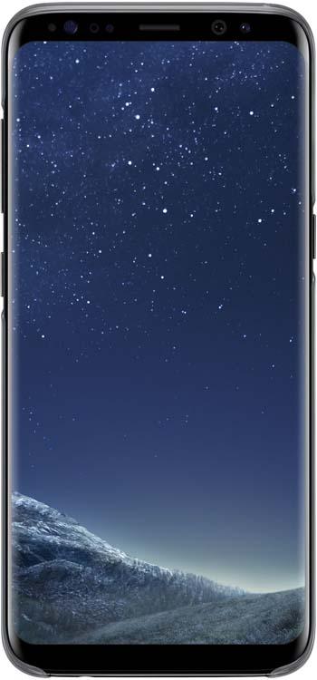Samsung Clear Cover чехол для Galaxy S8, BlackEF-QG950CBEGRUОригинальный чехол обеспечит надежную защиту задней крышке и торцам устройства. Не сильно увеличивает размеры смартфона. Оснащен необходимыми отверстиями под порты и камеру.