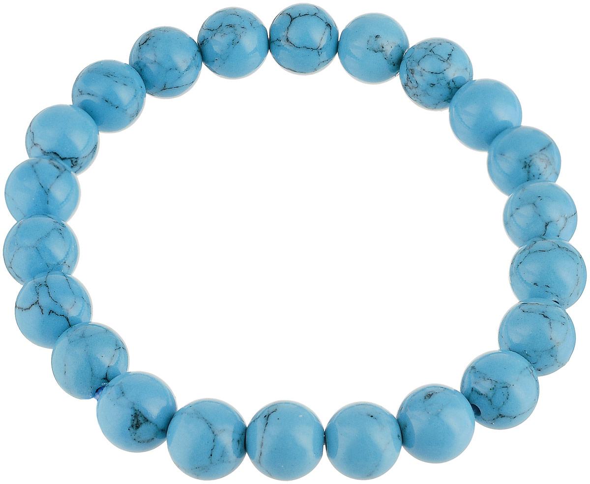 Браслет Револю Классика 8, цвет: голубой. БПБР-1(8)-1БПБР-1(8)-1Браслет Револю Классика 8 изготовлен из великолепной бирюзы в голубых тонах. Изделие состоит из круглых ограненных камней, соединенных на эластичной резинке. Натуральная бирюза относится к довольно редким, и потому весьма дорогим камням. Но как украшает голубая бирюза наших северных голубоглазых красавиц.