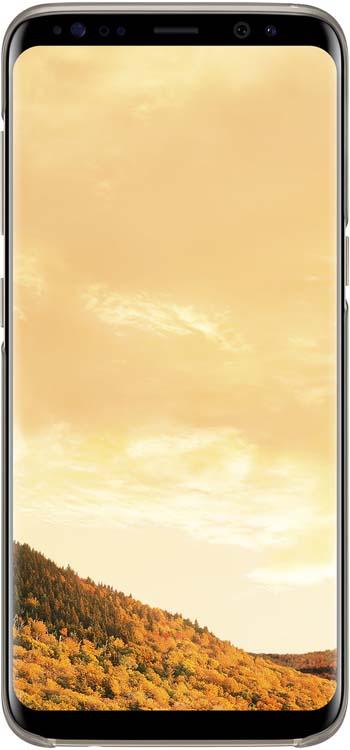 Samsung Clear Cover чехол для Galaxy S8, GoldEF-QG950CFEGRUОригинальный чехол обеспечит надежную защиту задней крышке и торцам устройства. Не сильно увеличивает размеры смартфона. Оснащен необходимыми отверстиями под порты и камеру.