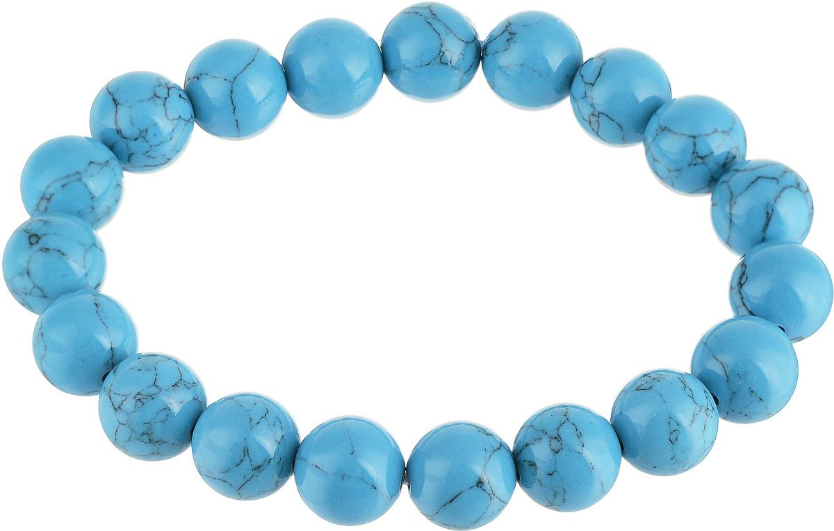Браслет Револю Классика 10, цвет: голубой. БПБР-1(10)-1БПБР-1(10)-1Браслет Револю Классика 10 изготовлен из великолепной бирюзы в голубых тонах. Изделие состоит из круглых ограненных камней, соединенных на эластичной резинке. Украшения из волшебной голубой бирюзы выглядят так нежно. Красивый камень, украшающий ювелирные вещицы, напоминает своим цветом бесконечное голубое небо.