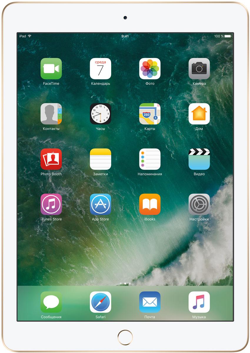 Apple iPad 9.7 Wi-Fi 128GB, GoldMPGW2RU/AДелайте проекты, листайте сайты, играйте и учитесь. У iPad для этого есть великолепный дисплей, высокая производительность и приложения для ваших любимых занятий. Где хотите. Легко и волшебно. Фотографии, шоппинг, презентации - на ярком 9,7-дюймовом дисплее Retina всё выглядит живо, реалистично и невероятно детально. Производительность, необходимую для быстрой и плавной работы приложений, обеспечивает 64-битный процессор A9. Открывайте интерактивные обучающие приложения, играйте в игры со сложной графикой и пользуйтесь двумя приложениями одновременно. При этом ваше устройство будет работать без подзарядки до 10 часов. Все приложения для iPad создаются с учётом его размеров и производительности. И в App Store их очень много. Вы обязательно найдёте то, что вам нужно. Ваш отпечаток пальца - это идеальный пароль, который невозможно угадать или забыть. Технология Touch ID позволяет мгновенно разблокировать iPad и защитить личные...