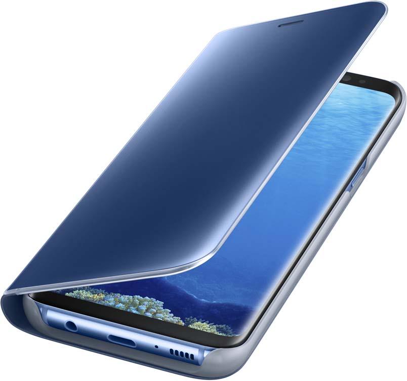 Samsung Clear View Standing чехол для Galaxy S8, BlueEF-ZG950CLEGRUТонкий полупрозрачный чехол подчеркивает стиль и изящество смартфона Samsung Galaxy S8. Аксессуар обеспечивает быстрый доступ к функциям – следите за информацией на экране, не открывая чехла. Сквозь прозрачную верхнюю крышку видны время, пропущенные вызовы, индикатор заряда. Флип-кейс отзывчиво реагирует на прикосновения – отвечайте на звонки одним легким движением. Чехол устойчив к появлению отпечатков пальцев – ваш смартфон всегда в аккуратном состоянии. Особое покрытие чехла защищает смартфон от повреждений, продлевая срок его службы.