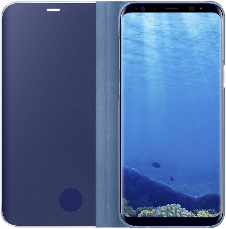 Samsung Clear View Standing чехол для Galaxy S8+, BlueEF-ZG955CLEGRUТонкий полупрозрачный чехол подчеркивает стиль и изящество смартфона. Аксессуар обеспечивает быстрый доступ к функциям — следите за информацией на экране, не открывая чехла. Сквозь прозрачную верхнюю крышку видны время, пропущенные вызовы, индикатор заряда. Флип-кейс отзывчиво реагирует на прикосновения — отвечайте на звонки одним легким движением. Чехол устойчив к появлению отпечатков пальцев — ваш смартфон всегда в аккуратном состоянии. Особое покрытие чехла защищает смартфон от повреждений, продлевая срок его службы.
