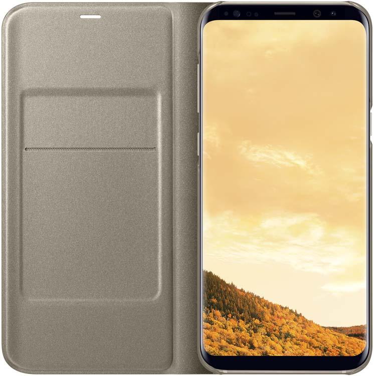 Samsung LED-View чехол для Galaxy S8+, GoldEF-NG955PFEGRUЧехлы LED View Cover предназначены для флагмана от Samsung ? Galaxy S8+. Верхняя крышка флип-кейса оснащена чувствительным сенсором, который реагирует на открытие/закрытие и нажатие кнопки питания. На передней панели чехла отображается текущая информация экрана – время, процент заряда, пропущенные вызовы и смс. Очередная фишка чехла – возможность отвечать на звонки, не открывая его, - просто проведите пальцем по панели, как по экрану. Чехол плотно прилегает к смартфону и предохраняет модель от падений и попадания пыли.