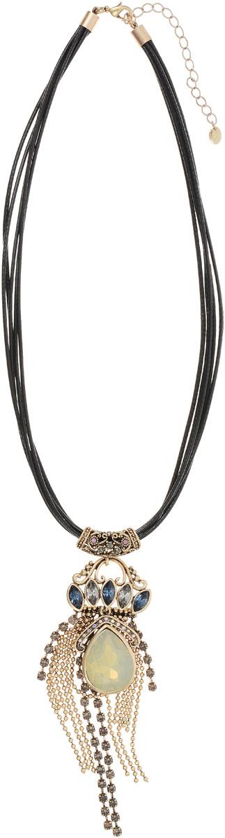 Колье Taya, цвет: черный, золотистый. T-B-12130T-B-12130-NECK-BK.GOLDКулон-подвеска выполнена на кожаных шнурках дополнена удлиняющей цепочкой с замочком-карабином. Бледная матовая капля расположена поверх золотых цепей и полосок страз. Нежное шейное украшение-галстук.